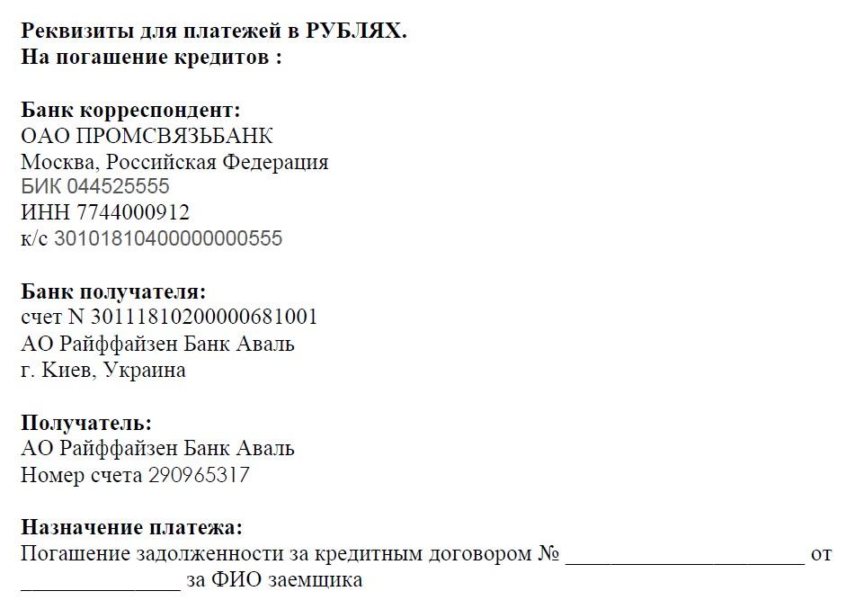 реквизиты на погашение кредитов в рублях