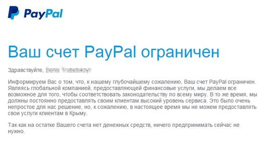 оплаты в платежной системе PayPal
