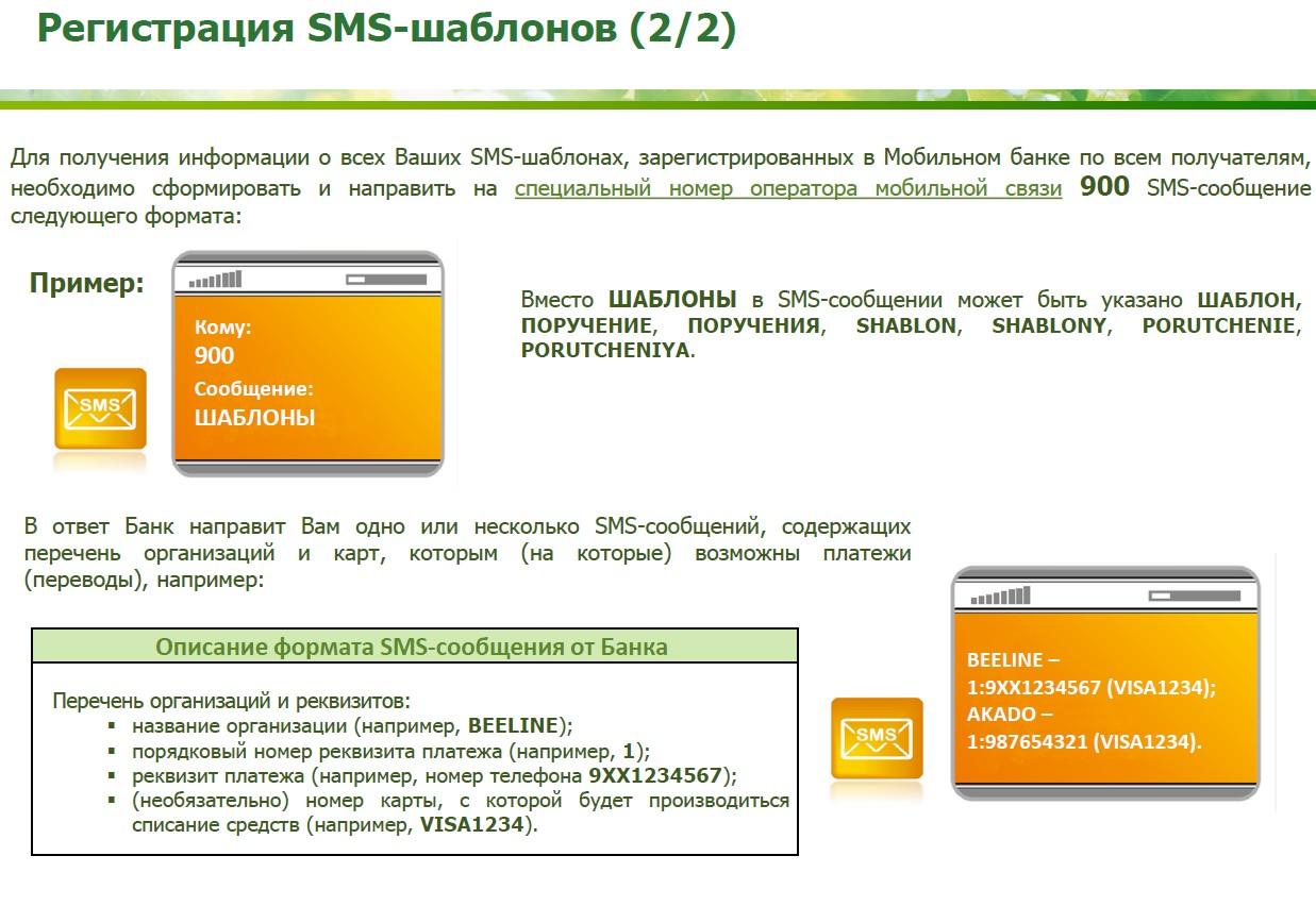 шаблоны смс-сообщений в мобильном банке