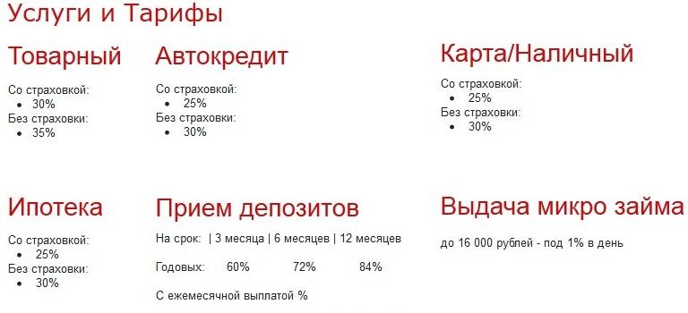 условия и тарифы ООО ФК СтопКредит